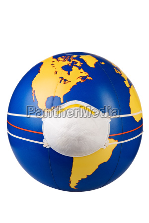 globe with protective mask