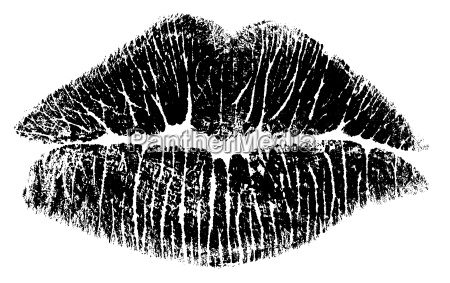 kiss lips bitmap only black and
