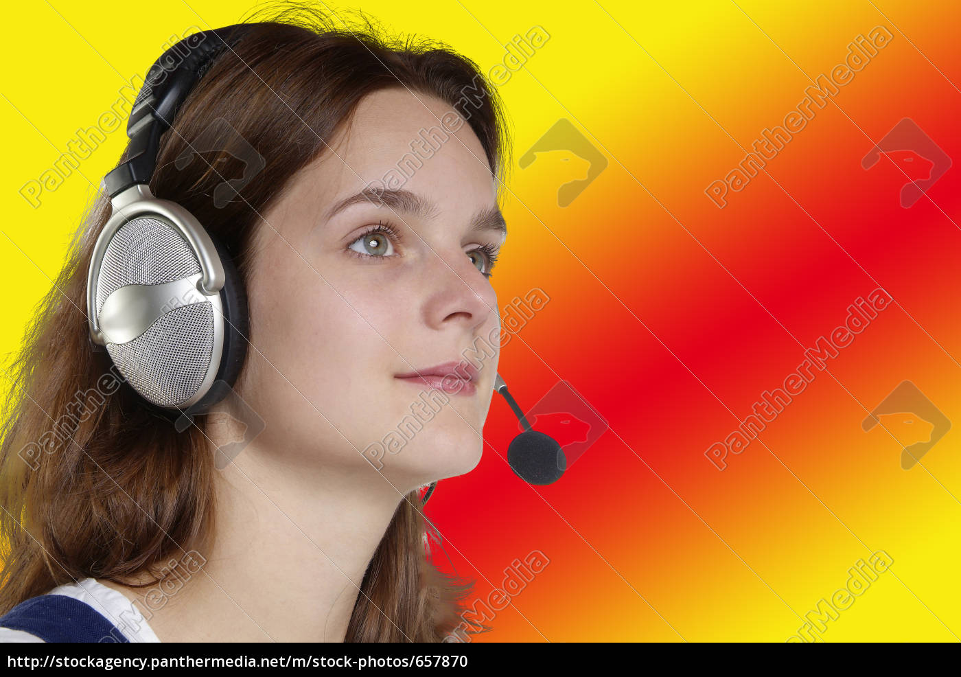 woman, with, headset - 657870