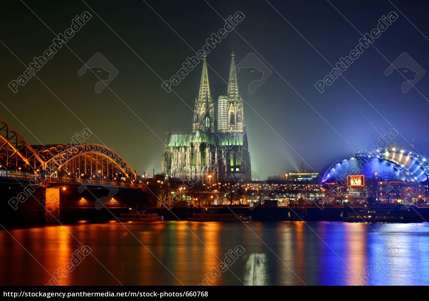 cologne, -, rhine, panorama, at, night - 660768