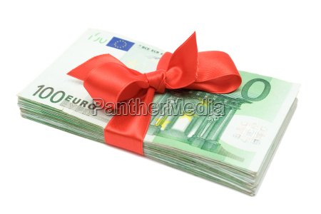 wad of money with red bow