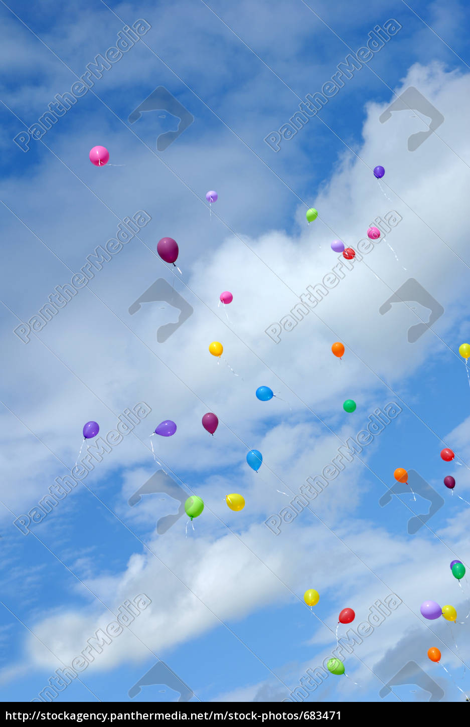 flying, colored, balloons - 683471