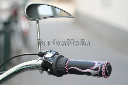bicycle handlebars with rear view mirror