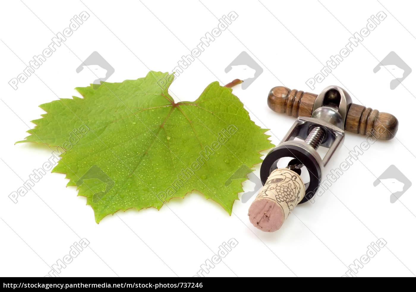 wine, leaf, with, corkscrew - 737246