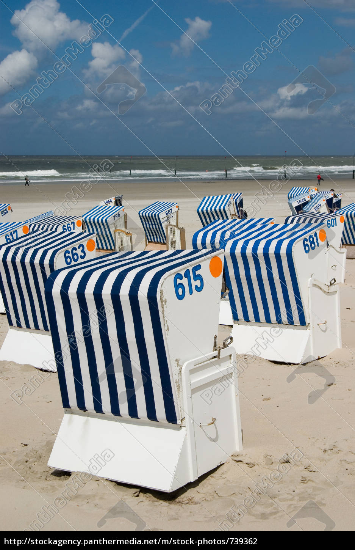 beach, baskets, on, norderney - 739362