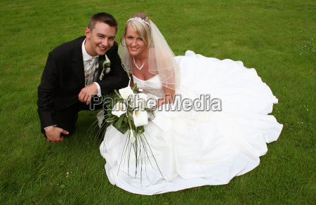newlyweds, on, the, grass, ... - 741080