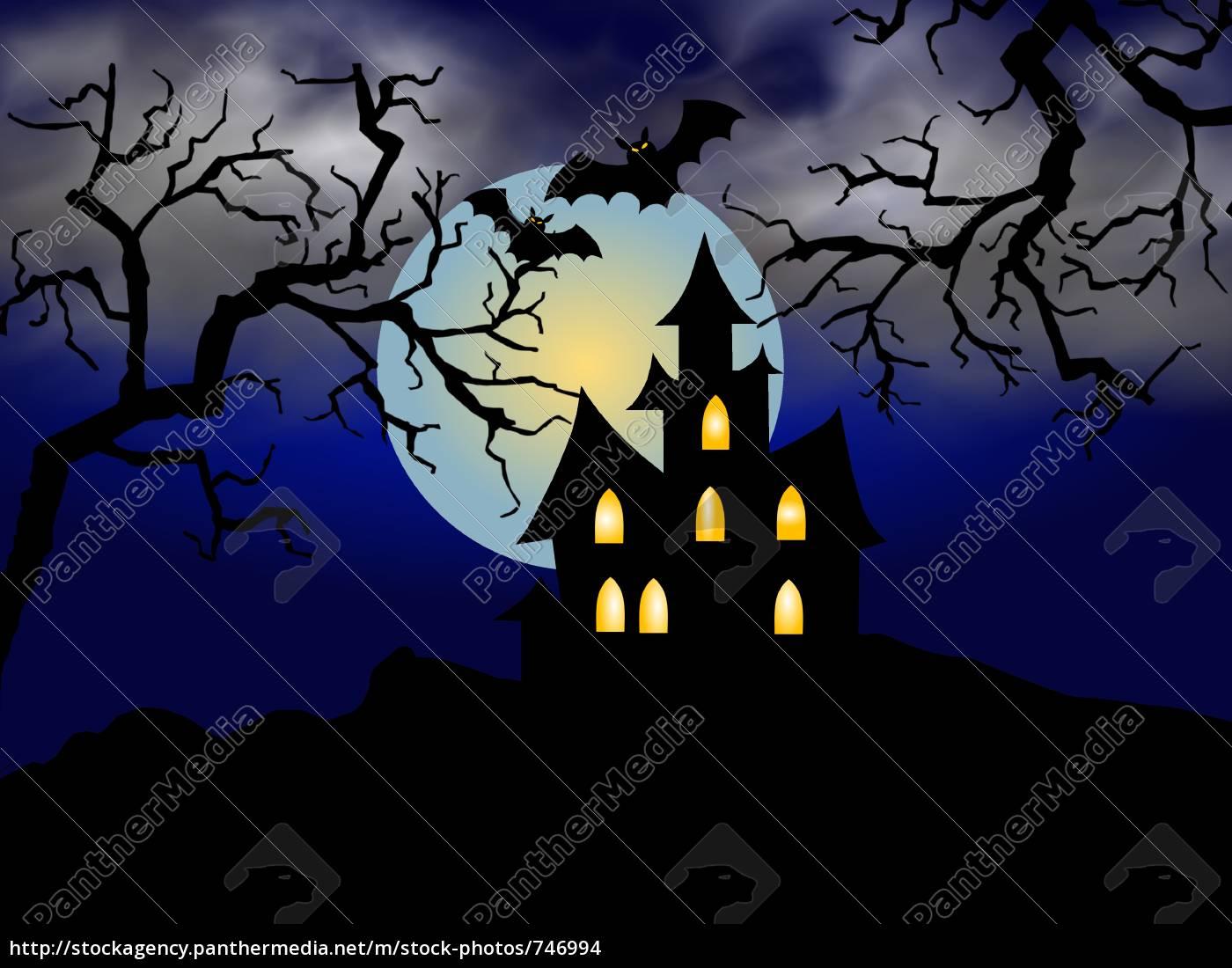 halloween, house, blue - 746994