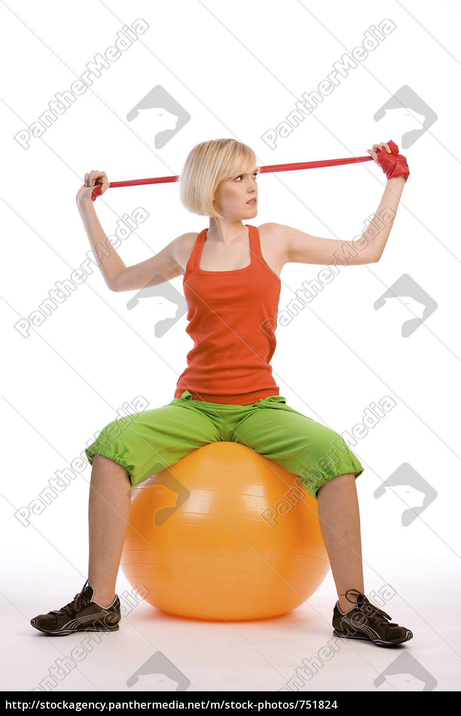 woman, with, gym, ball, and, ribbon - 751824