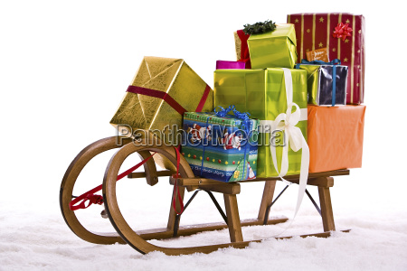 gifts on a sled