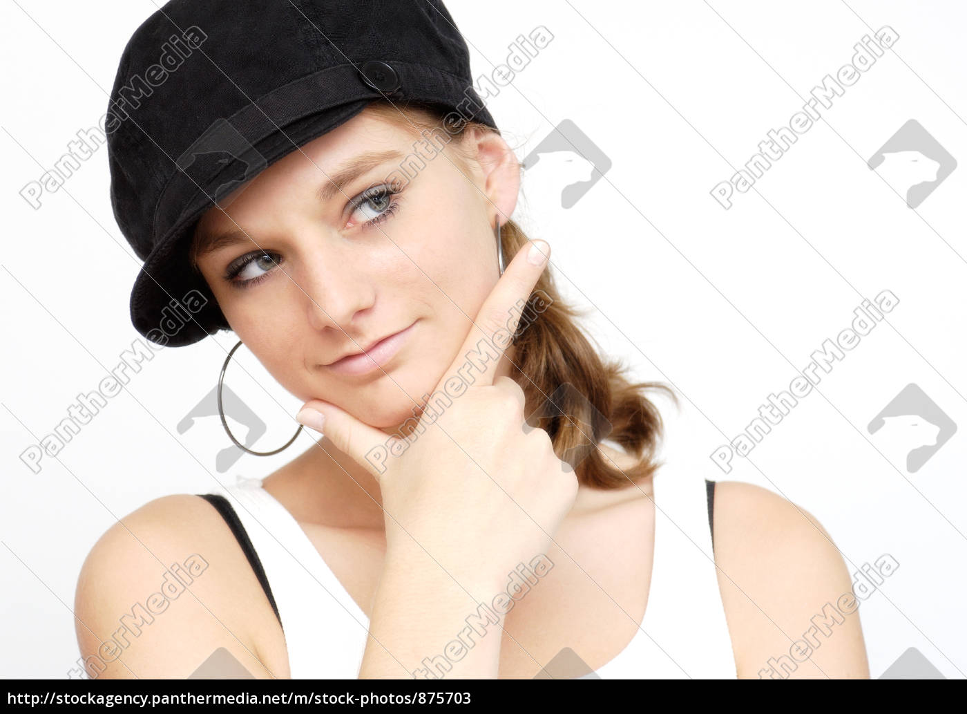 young, woman, with, black, cap - 875703