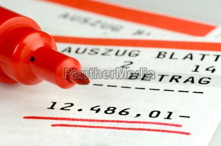 bank statement with debit balance