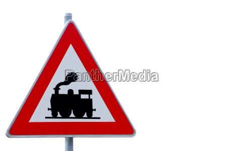 road sign warning train