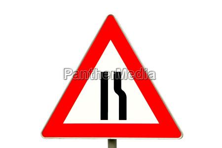 road sign road narrowing