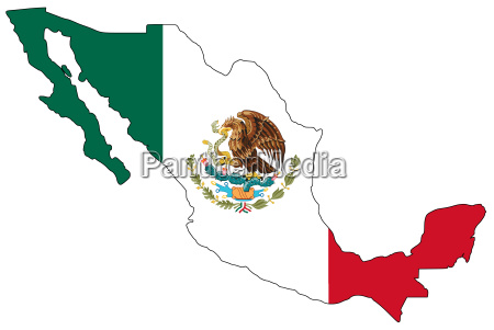 map, of, mexico, in, national, colors - 977427