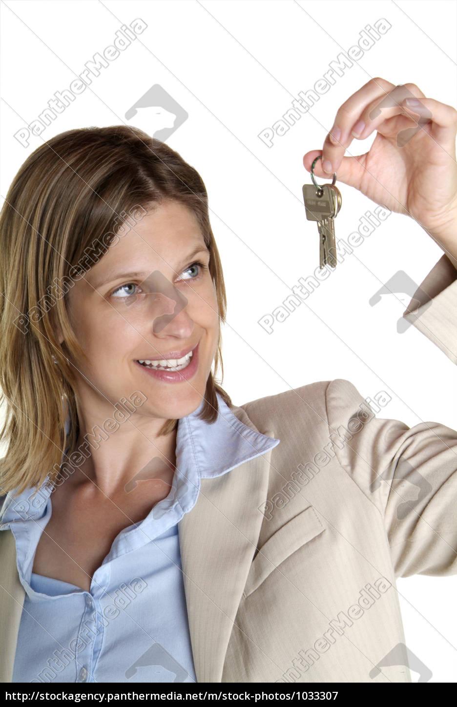 woman, showing, key - 1033307