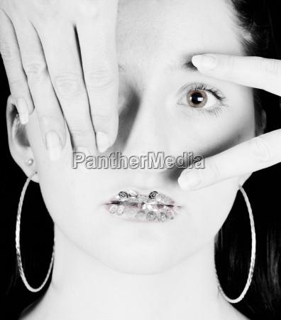woman hand hands finger face eye