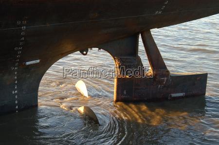 ship screw in water
