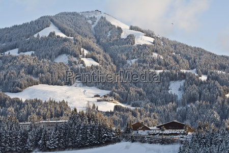 houses snowy tyrol forest