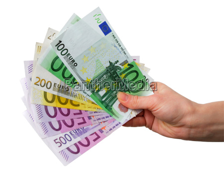 hand with euro notes