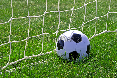 soccer ball against the goal net