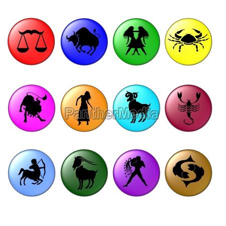 zodiac symbols colorful