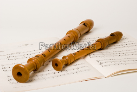 large and small flute background white