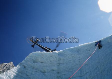 ice climbing in the glacier broken
