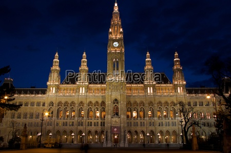 town, hall, in, vienna, night, scene - 1177511