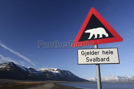 warning sign polar bear spitzbergen