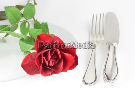 a rose and a fork on