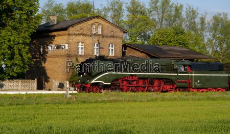 station steam locomotive express poland