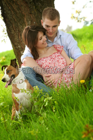 happy, couple, with, dog - 1237473