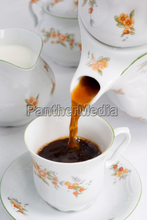 pouring coffee or tea