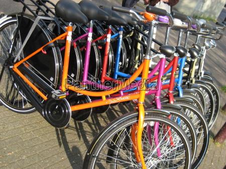 bicycles rainbow colors