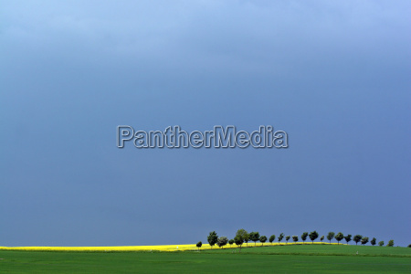 dark clouds over spring landscape