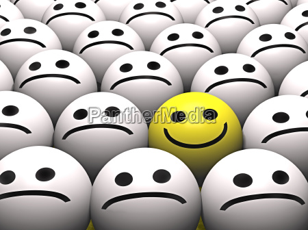 a happy yellow smiley stands out