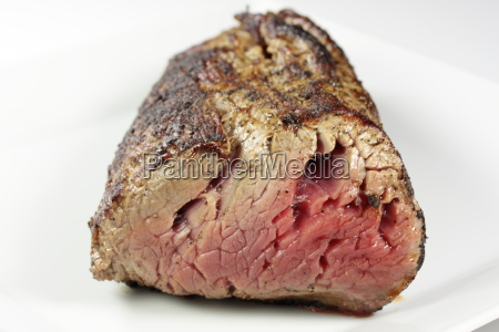a filet on a white plate