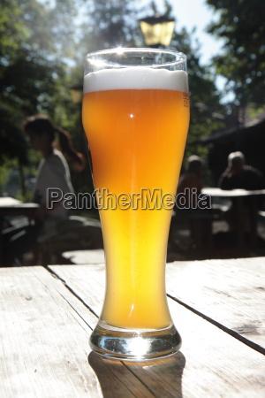 wheat beer in a beer garden