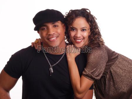 young couple black man hispanic woman