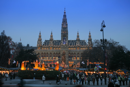 vienna city hall with christmas market