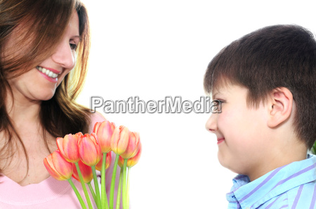 mother, and, son, with, flowers - 1321721