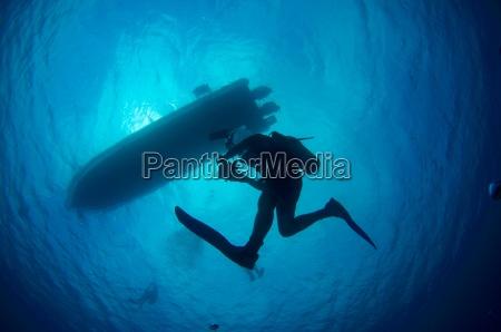 scuba, diving, silhouette - 1335389