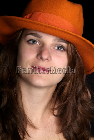 woman, with, orange, hat - 1341733