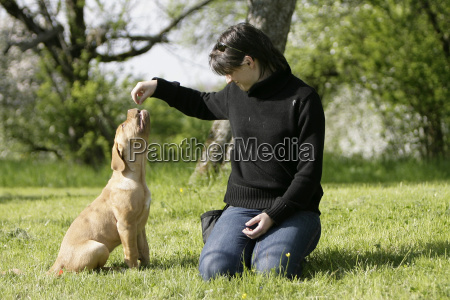 woman, with, puppy - 1344449