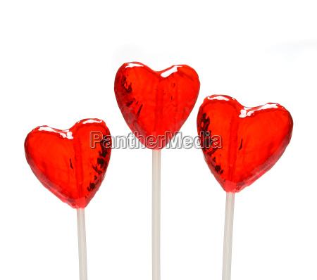 three, heart, shaped, lollipops, valentine - 1349757