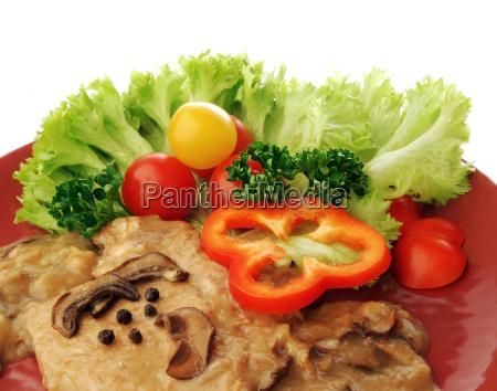 pork, cut, with, mushroom, sauce, and - 1352231
