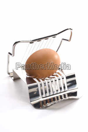 egg cutter with egg on white