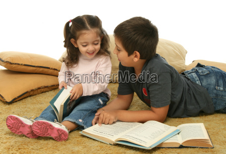 brother, and, sister, reading, books, on - 1359669
