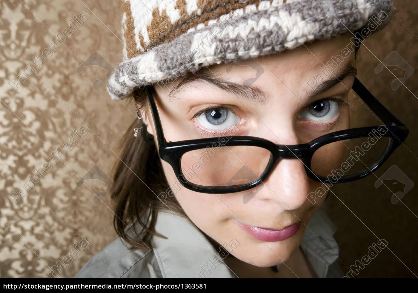 nerdy, woman, in, a, knit, cap - 1363581