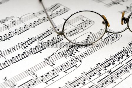 reading, glasses, on, sheet, music - 1364999